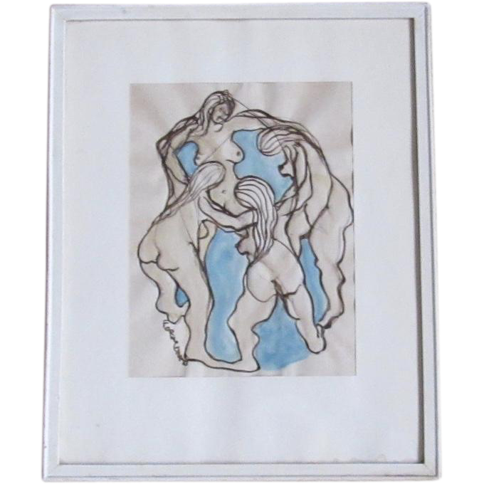 Original Neo-Cubist Ink and Watercolor Wash by John Formicola
