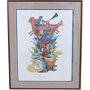 Embossed Ebgi Signed Lithograph Animals Board the Ark