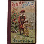 1882 Victorian Children's Book Pictures and Stories for Baby Land by Uncle John Chromolithograph Cover