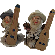 West German Pinecone Putz Gnome Musicians with Mushroom Hats Vintage Christmas