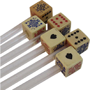 Set of 6 Vintage Playing Card Dice Swizzle Sticks Vintage Retro Kitchen