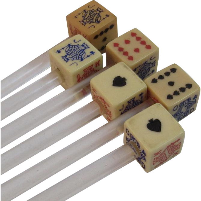 Set of 6 Vintage Playing Card Dice Swizzle Sticks