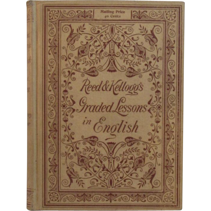 c1892 Victorian School Book Reed & Kellogg's Graded Lessons in English Schoolbook