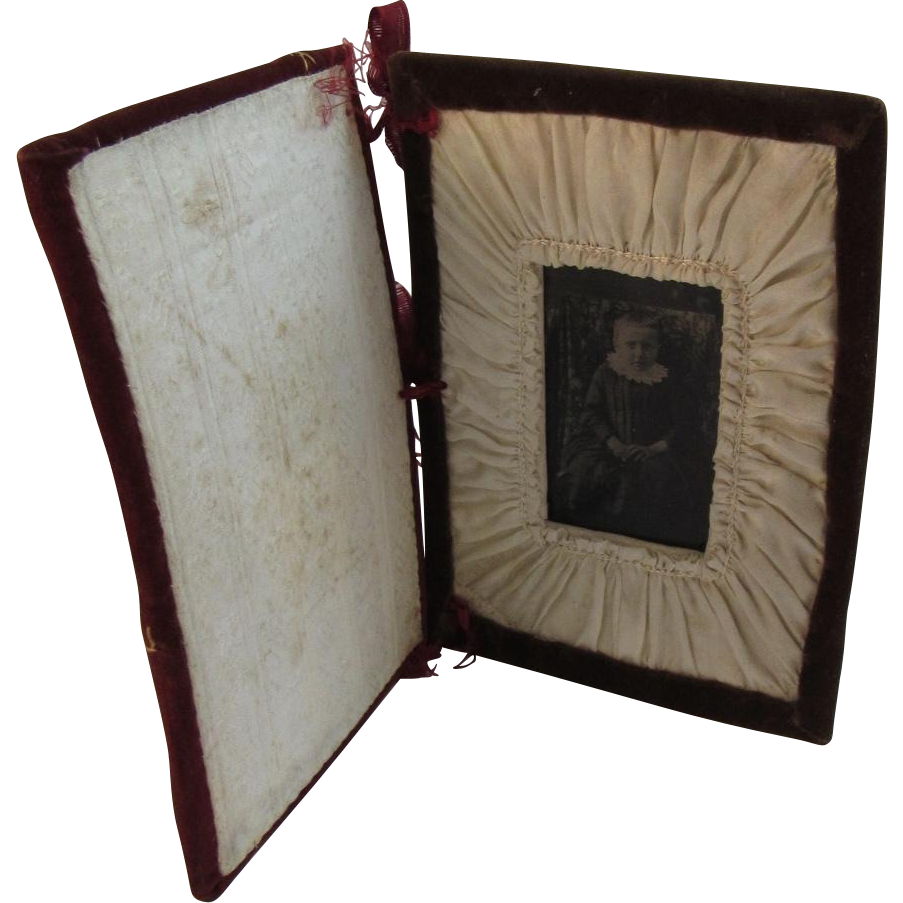 Victorian Tintype Photo of a Little Girl in a Handmade Velvet Book Frame