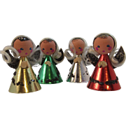 4 Austrian Christmas Angels Wood Foil and Mica Miniatures
