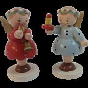 2 Italian Wood Christmas Angel Miniatures