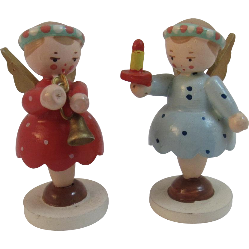 2 Italian Wood Christmas Angel Miniatures