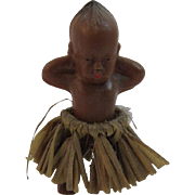 Vintage Black Kewpie Miniature Doll in Grass Skirt Hard Plastic - Red Tag Sale Item