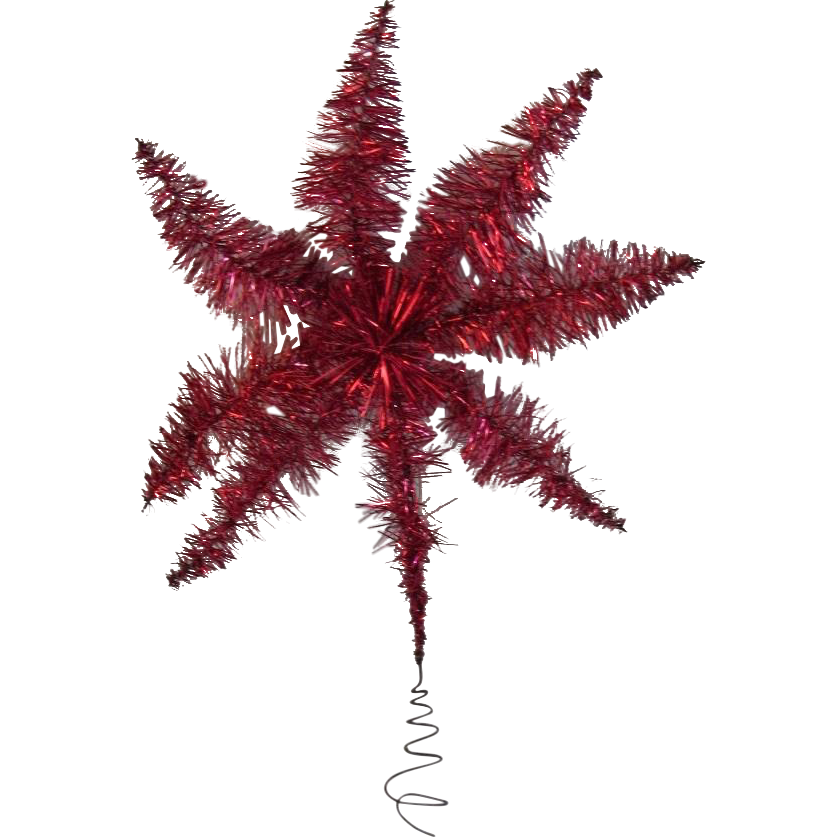 Vintage Red Tinsel Star Christmas Tree Topper from ...