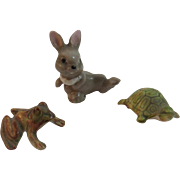 Dollhouse Miniatures Frog Turtle and Bunny