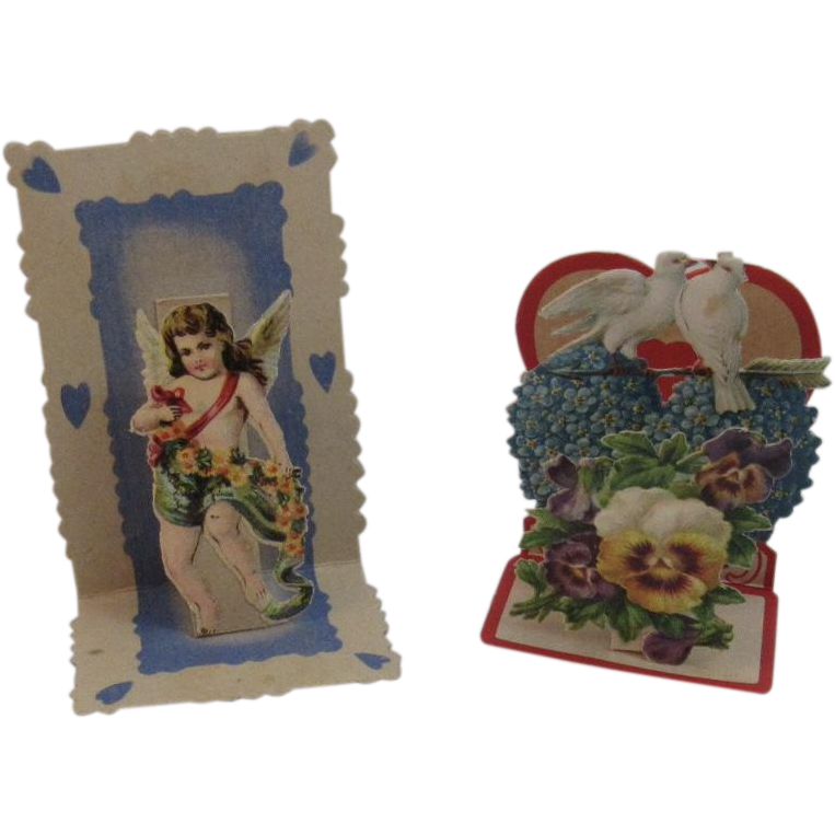 2 Victorian German Die Cut Miniature Pop Up Valentines