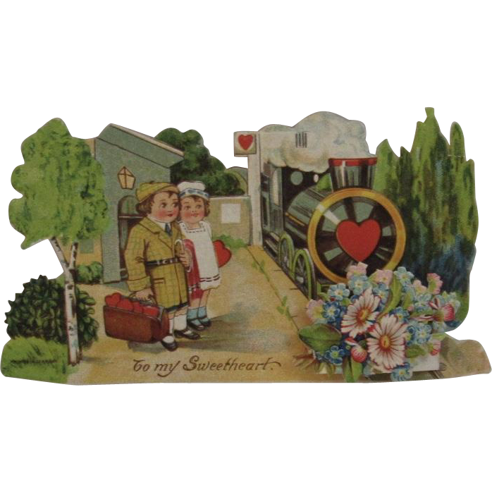 Victorian German Die Cut Train Valentine