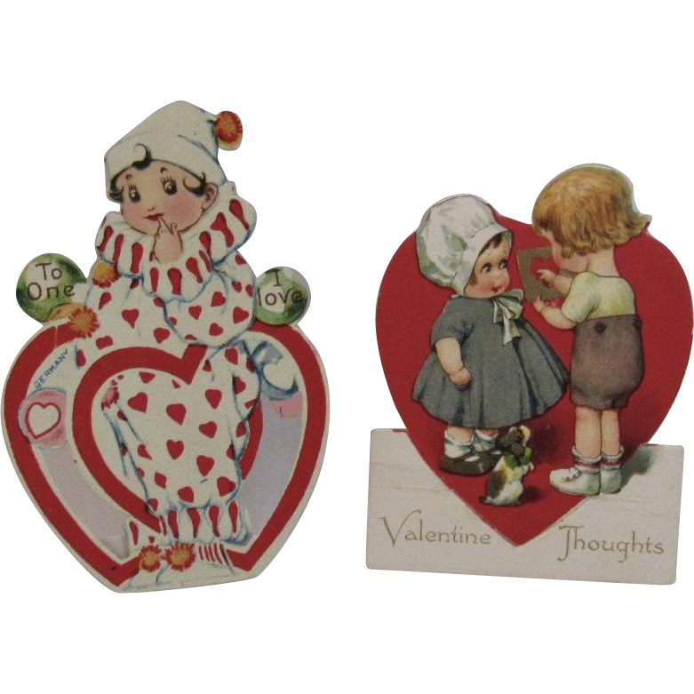 2 German Valentines Clown and Couple with Puppy