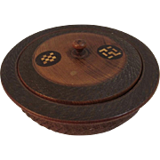 Vintage Inlay Carved Walnut Covered Dish