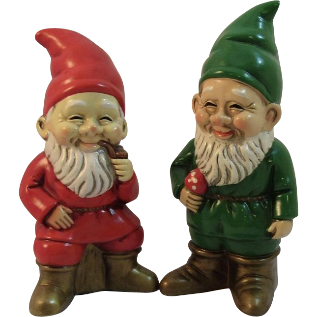 Vintage Christmas Red Green Gnomes Elves RB Japan