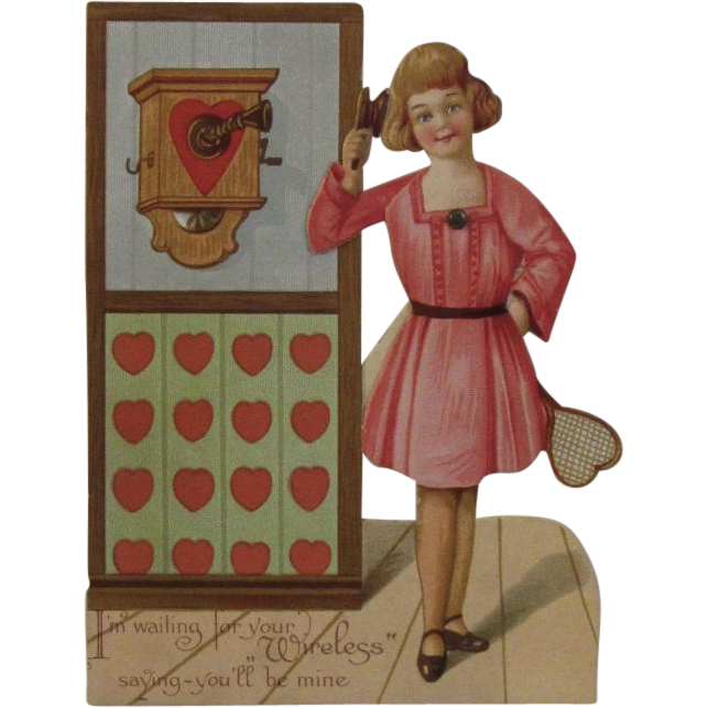 German Mechanical Valentine Girl at Phone with Tennis Racket