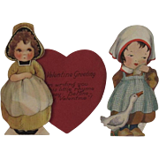 2 Vintage Mechanical Valentines of Little Dutch Girls Red Heart