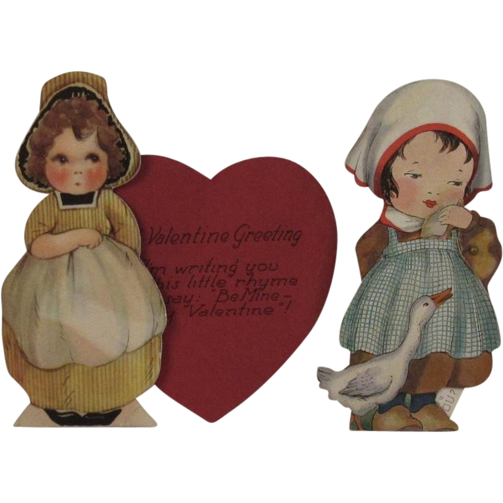 2 Vintage Mechanical Valentines of Little Dutch Girls