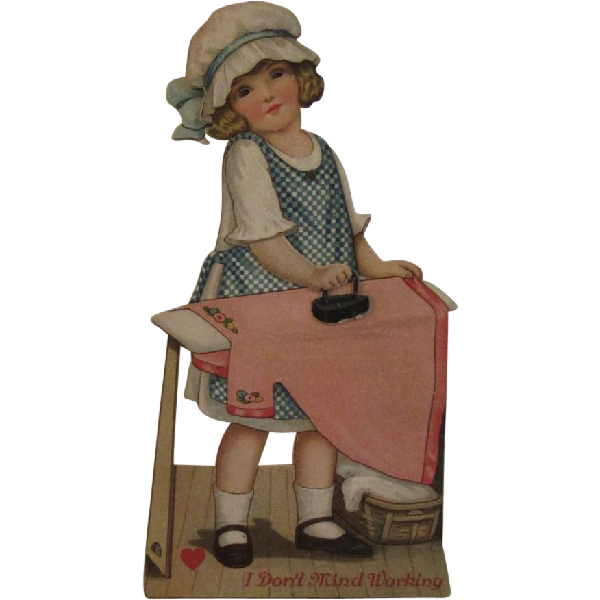 German Mechanical Valentine Girl Ironing a Pink Dress