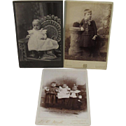 3 Victorian Baby Children Cabinet Card Photos