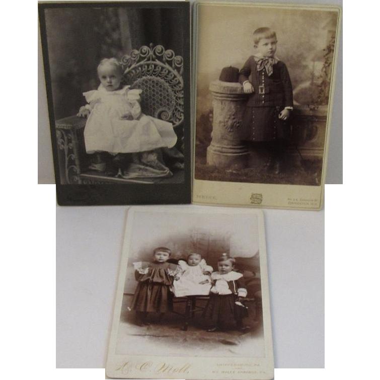 3 Victorian Baby Children Cabinet Card Photos