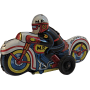 Nomura Tin Friction Military Police Motorcycle Japan Japanese