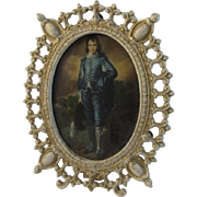 Gothic Cast Metal Frame with Blue Boy Print