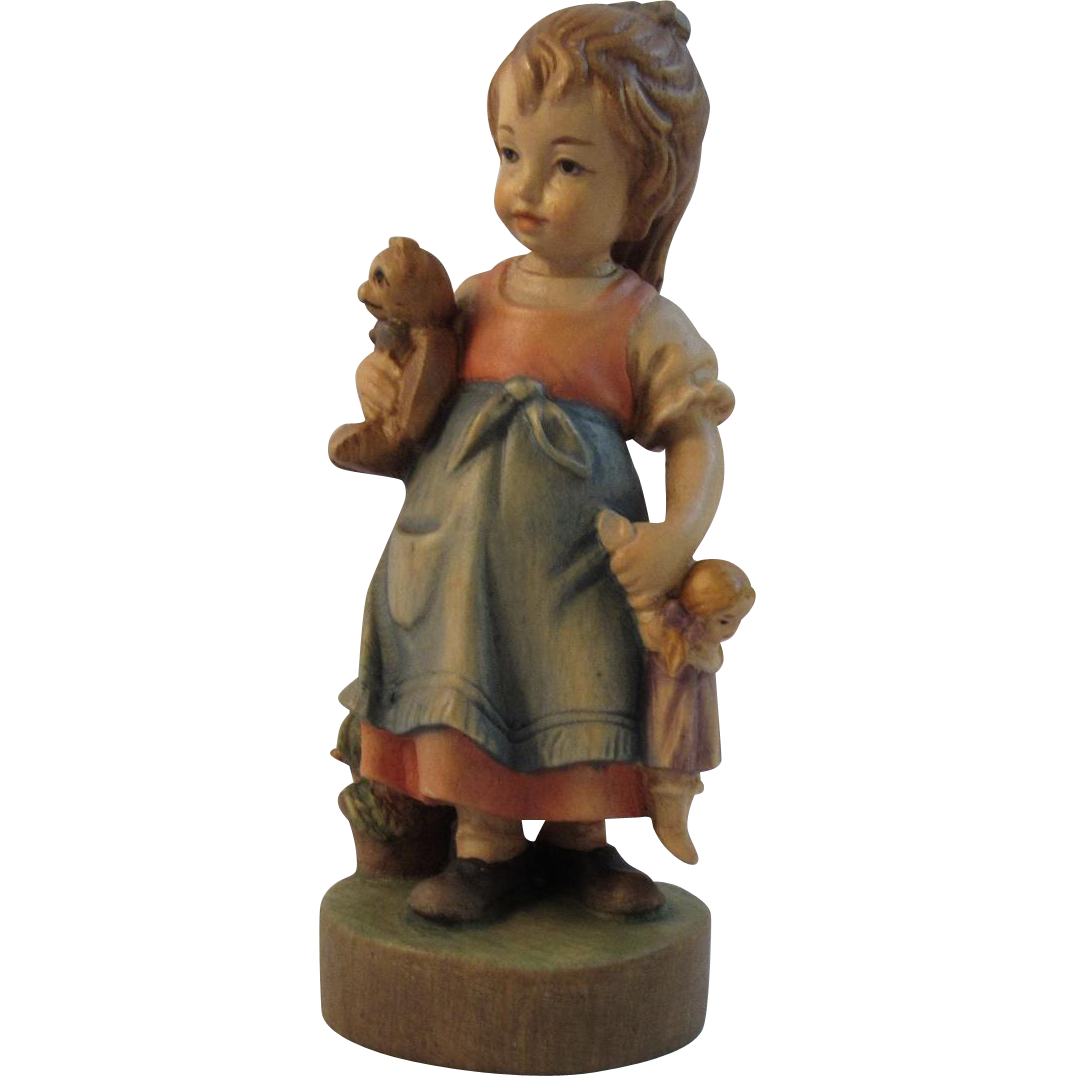 Vintage Carved Wood Girl with Bear and Doll Figurine