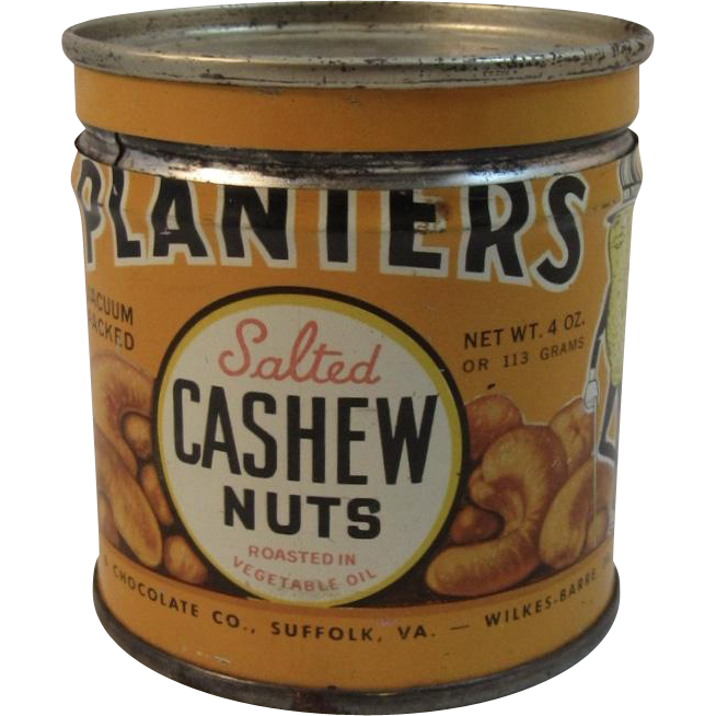 Planters Salted Cashew Nuts 4 Oz. Tin with Mr. Peanut