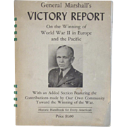 General Marshall's Victory Report on the Winning of World War II in Europe and the Pacific c1945