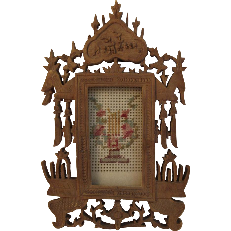c1876 Victorian Fretwork Miniature Frame with Needlepoint