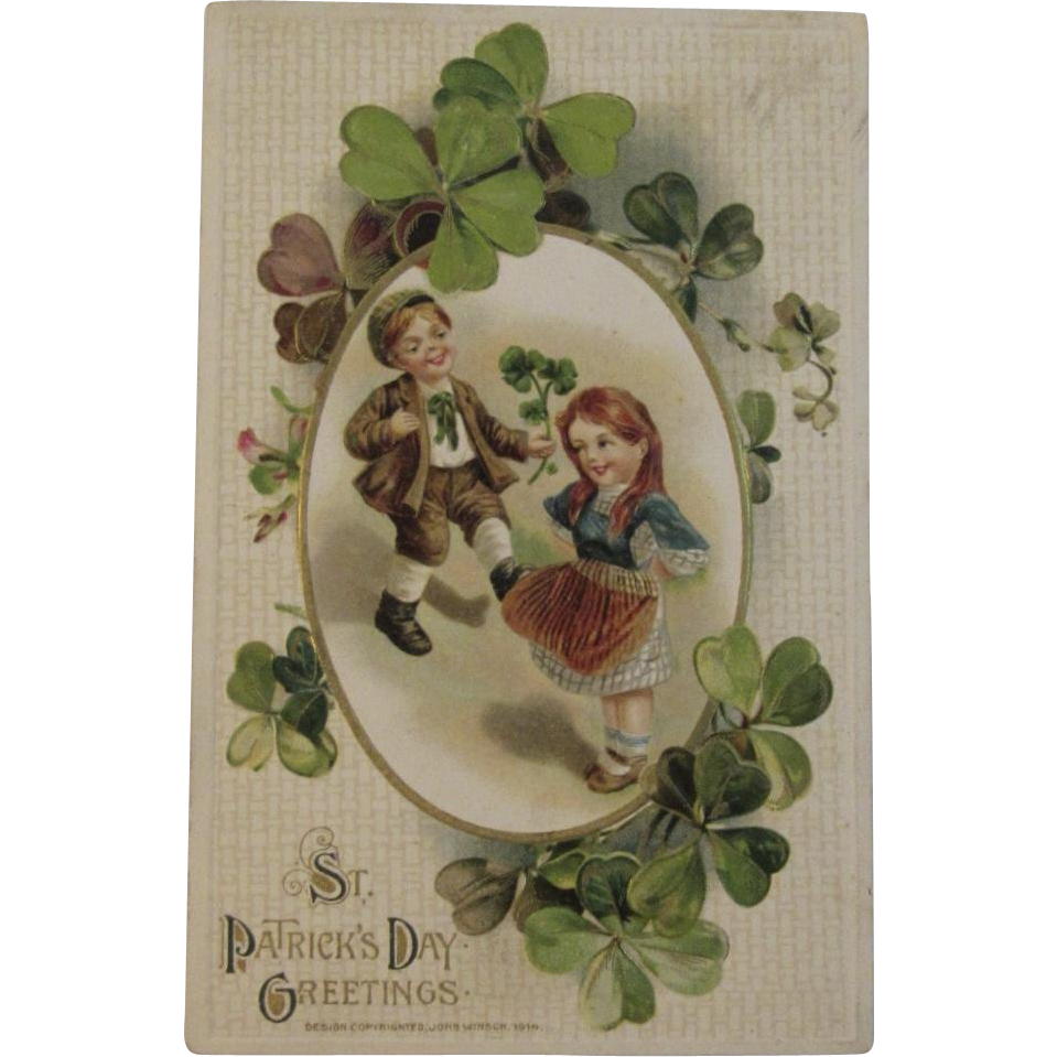 1914 Winsch St. Patrick's Day Embossed Postcard