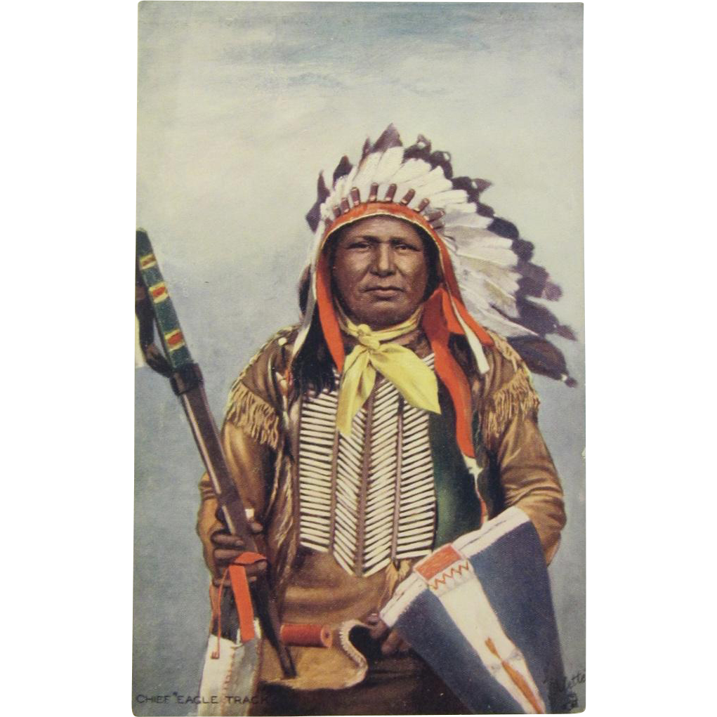 Indian Chief 'Eagle Track'  Postcard by Tuck