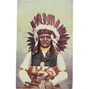 Indian Chief 'White Swan'  Postcard by Tuck Native American