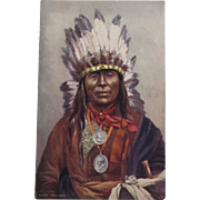 Indian Chief 'Iron Owl'  Postcard by Tuck Native American