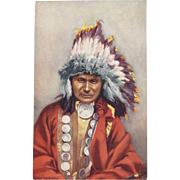 Indian Chief 'Red Owl'  Postcard by Tuck