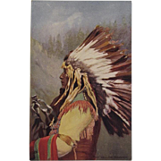 Indian Chief 'Yellow Thunder'  Postcard by Tuck, Native American