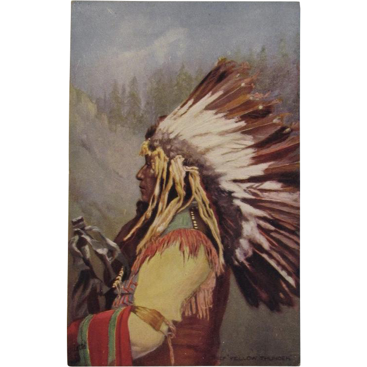 Indian Chief 'Yellow Thunder'  Postcard by Tuck
