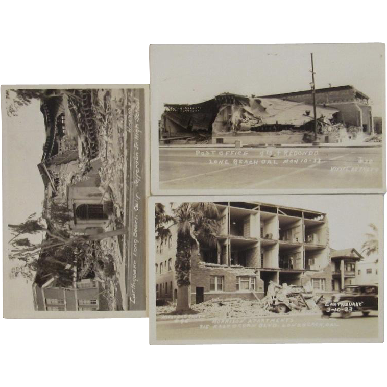 3 Photo Postcards Long Beach California 1933 Earthquake