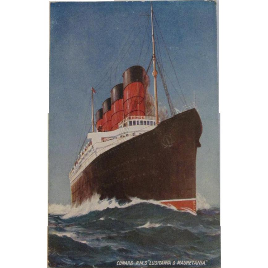 1912 Cunard RMS Lusitania & Mauretania Postcard