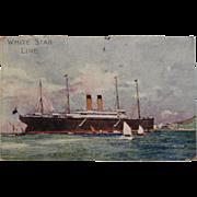 White Star Line RMS Celtic on Phaleron Bay Postcard