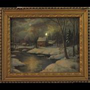 Dollhouse Miniature Winter House on River Print c1937