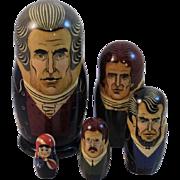 Vintage Russian Nesting Doll Set American Presidents