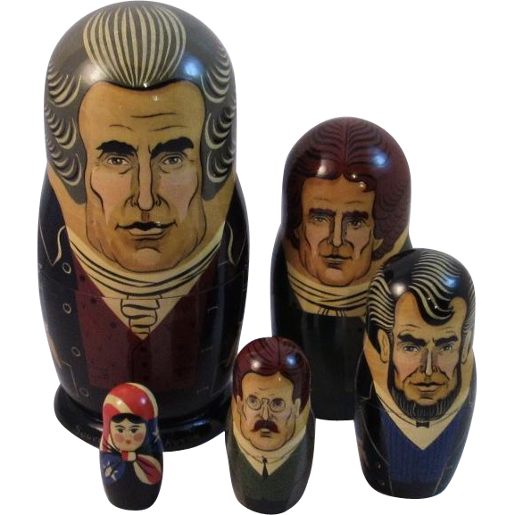 Vintage Russian Nesting Doll Set American Presidents