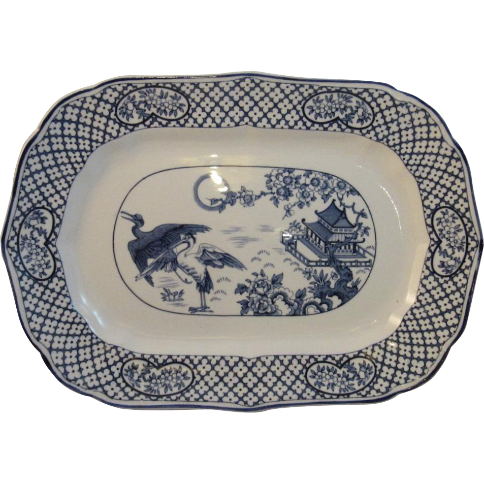 Hales Hancock & Godwin Orient Blue Transfer Platter 14 inch