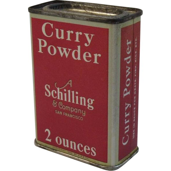 A Schilling & Company Curry Powder Red Litho Spice Tin Vintage Kitchen