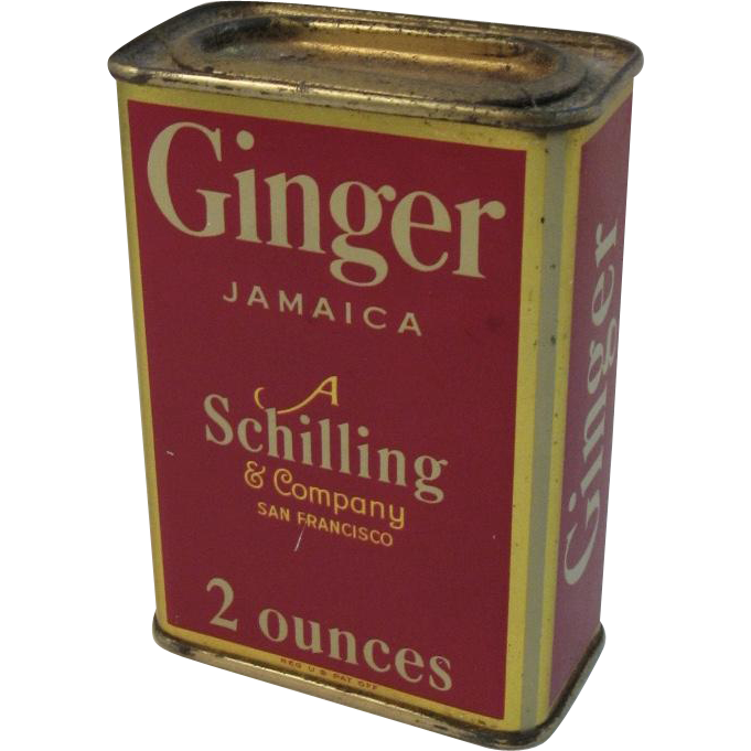 A Schilling & Company Ginger Jamaica Red Litho Spice Tin Vintage Kitchen
