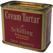 A Schilling & Company Cream Tartar Red Litho Spice Tin