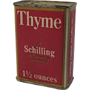 A Schilling & Company Thyme Red Litho Spice Box