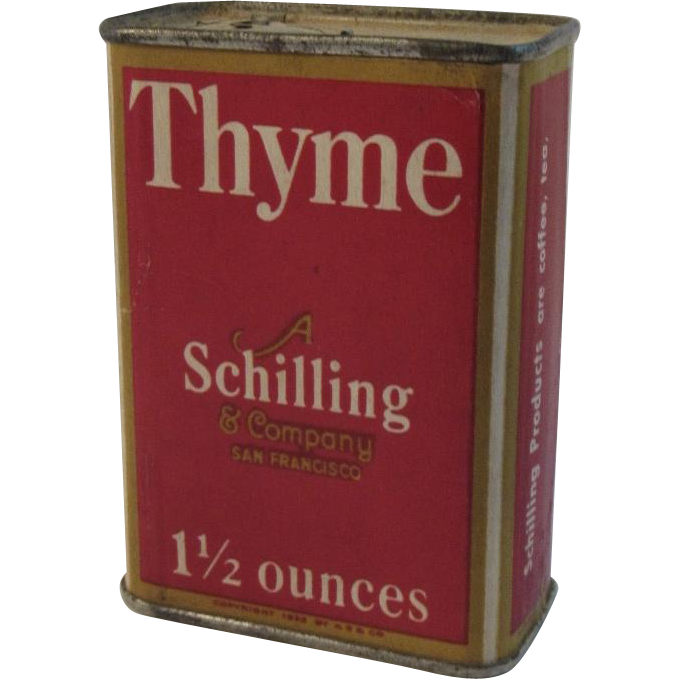 A Schilling & Company Thyme Red Litho Spice Box Vintage Kitchen
